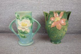 "Roseville Pair Of Vases Blue Water Lily 72-6"" And G"