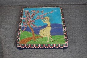 Longwy Rare French Pottery Trivet Stand With Lady