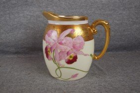 "Pickard China Pitcher With Orchids, 5 3/4"", Signed"