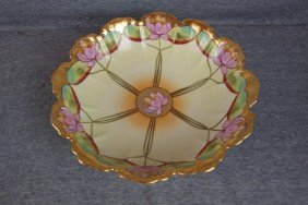 "Pickard China Bowl With Water Lily Motif, 9 1/4"","