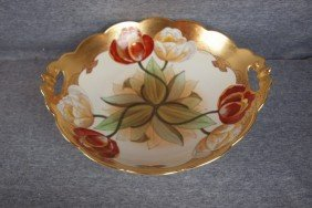 Pickard Two Handled Deep Bowl With Flowers, Signed