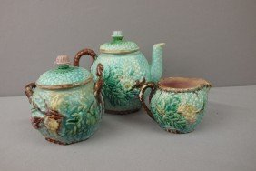 Basketweave And Floral 3 Piece Teaset, Various Con