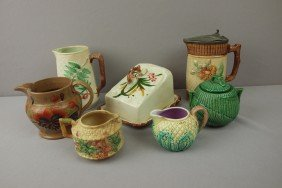 Majolica Lot Of 7 Pieces - Syrup Pitcher, Sugar, 4