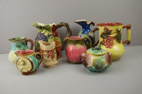 Majolica Lot Of 7 Pitchers And 1 Sugar, 2 Pitchers