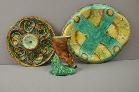 Majolica Lot Of 3 Items - French Fish Head Oyster
