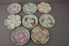 Porcelain Lot Of 8 Oyster Plates And One Shooter,