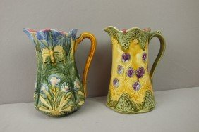 Onnaing Lot Of 2 Floral Pitcher, One With Butterfl