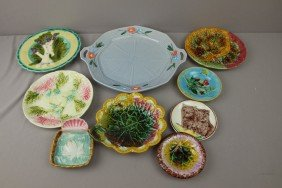 Majolica Lot Of 9 Plates And Trays, Various Condit
