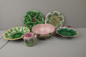 ETRUSCAN Majolica Lot Of 6 Items - Shell And Seawe