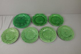 Majolica Lot Of 7 Green Plates, Various Patterns A
