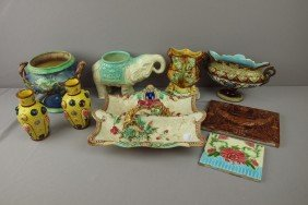 Majolica Lot Of 9 Assorted Items - Vases, Tiles, P
