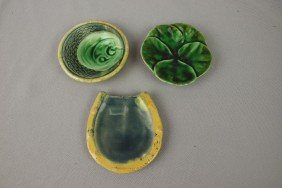 Majolica Lot Of 3 Butter Pats- Horseshoe, Pond Lil