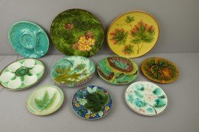 Majolica Lot Of 10 Plates, Various Condition
