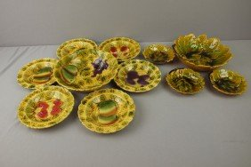 Continental Majolica Lot Of 2 Dessert Sets, Variou