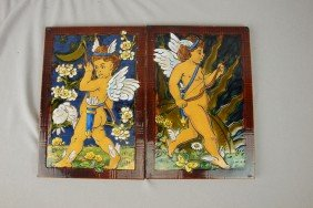"MINTON Pair Of Tiles, ""Night"" And ""Day"" With Cupid"