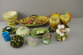 Majolica Lot Of 14 Assorted Items, Various Condit