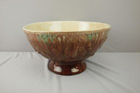 Wannopee Rare Form Large Majolica Punch Bowl With