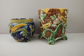 Majolica Lot Of 2 Jardinieres, Various Condition