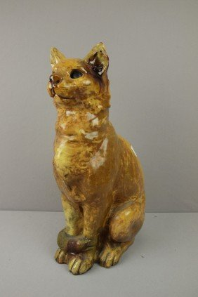 Large Terra Cotta Cat With Majolica Type Glaze, M