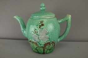 Majolica Geranium Teapot With Acorn Finial, 7 1/2