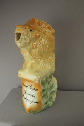"""Fives Lille French Lion Figural Pitcher, 10 1/2"""""""