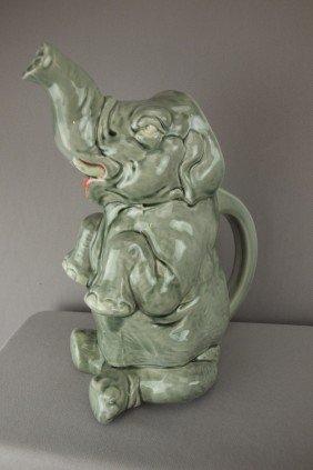 "SARREGUEMINES Figural Elephant Pitcher, 10"""