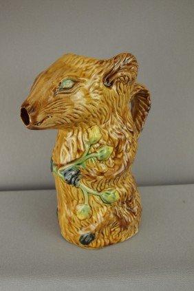 "Poet Laval Figural Majolica Rat Pitcher, 8 1/2"","
