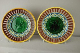 WEDGWOOD Pair Of Majolica Plates With Scenic Cent