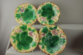 "WEDGWOOD Majolica Set Of 4-8 3/4"" Strawberry And"