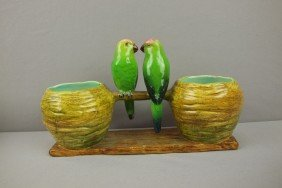 Delphin MASSIER Figural Planter With 2 Birds On B