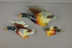 MASSIER Set Of Three Graduated Figural Duck Wall