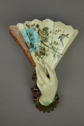 French Majolica Hand And Fan Wall Pocket With Bir