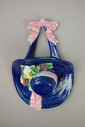 Majolica Cobalt Bonnet With Flowers And Pink Ribb