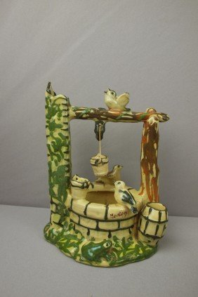 French Majolica Vallarus Wishing Well With Bird,