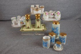Lot Of 5 China Condiment Sets - Nippon, Bavarian An