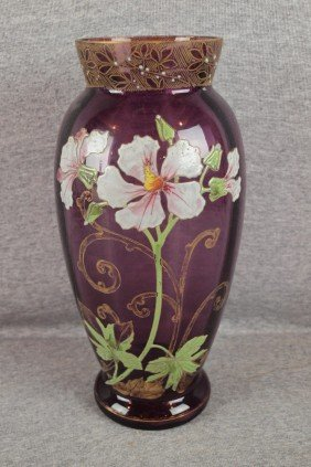 Moser Type Amethyst Vase With Gold And Enamel Flow