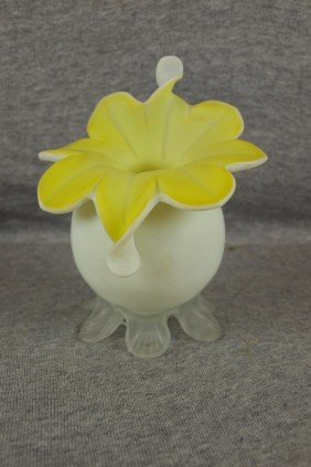 Satin Glass Yellow Cased Jack- In-the-pulpit Vase,