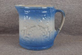 "Blue And White Stoneware ""Avenue Of Trees"" Pitcher"