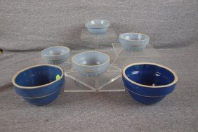 Blue And White Stoneware Lot Of 6 Bowls - 4 Mini B
