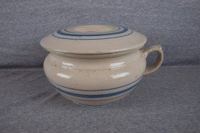 Blue And White Stoneware Blue Band Chamber Pot And