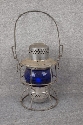 "Railroad Lantern Embossed ""B&ORR"" With Cobalt Blue"