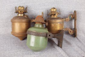 Lot Of 3 Wall Mounted Brass And Iron Caboose Lamps
