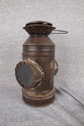 Early Tin Lantern With 2 Clear Lenses