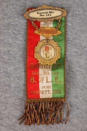 Railroad Brotherhood Ribbon, Garrett, Ind Lodge 153
