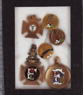 Lot Of 6 Brotherhood Railroad Pins