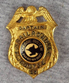 Chessie System Railroad Police Captain Badge