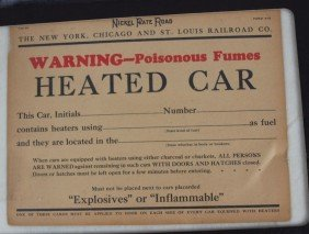 "Nickel Plate Road Sign ""Heated Car"" Notice, Cardbo"