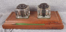 Railroad Desk Set With 2 Glass Inkwells Etched B&OR