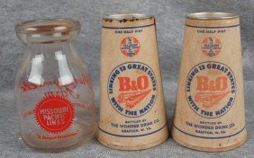 Missouri Pacific Lines Milk Bottle And 2 B&ORR Oran