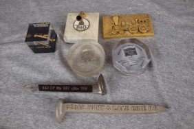 Lot Of 7 Railroad Advertising Paperweights
